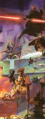 Дарт Мол атакует укрепление «Чёрного солнца».